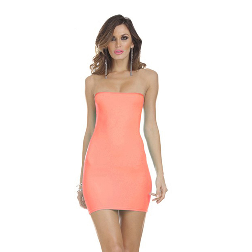 Fashion Womens Strapless Summer Tube Stretch Bodycon Tight ...