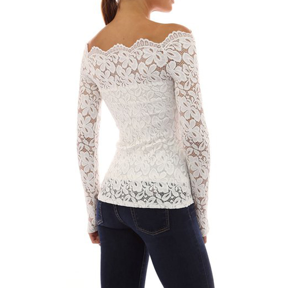 5a920f4e522e9a Womens Off Shoulder Lace Blouse Shirt Summer Evening Cocktail Clubwear Tops  4 4 of 7 ...