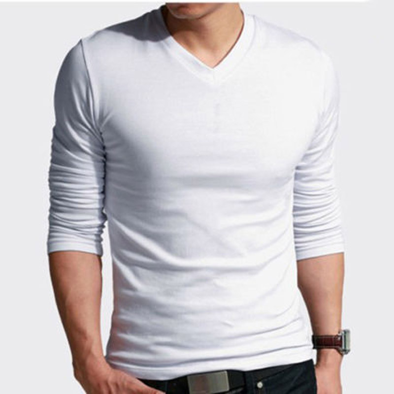 100 Cotton Mens Basic Tees Long Sleeve T Shirt Crew V