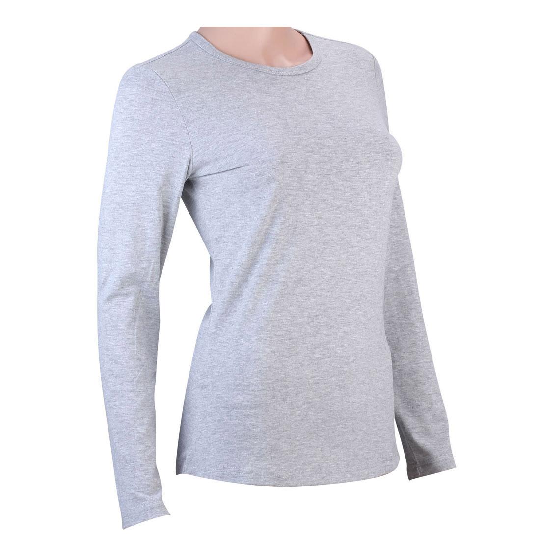 100 cotton womens basic tee long sleeve t shirt plain for Long sleeve womens t shirts