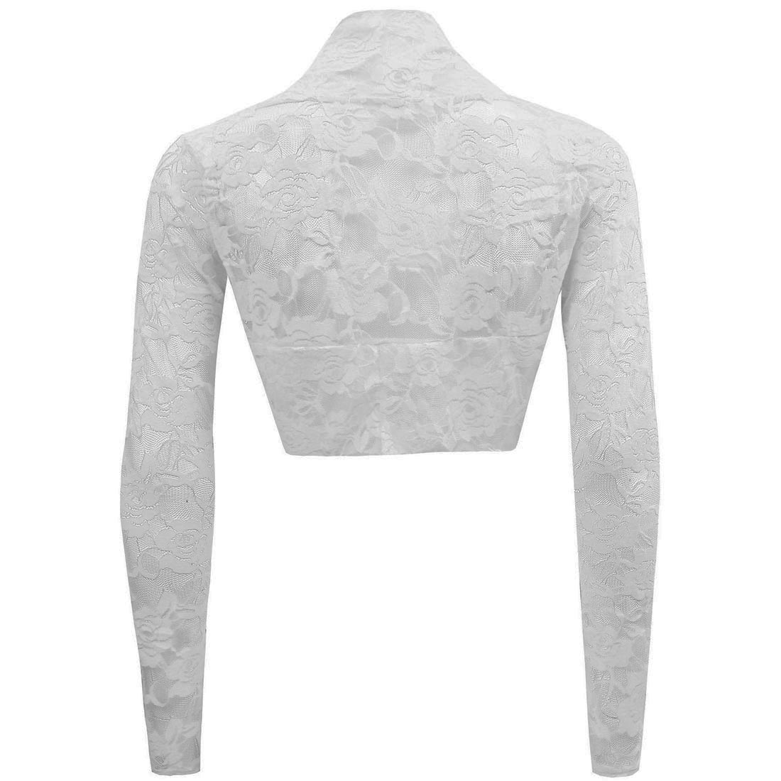 Womens Sheer Lace Long Sleeve Cropped Shrug Top Cardigan Wedding ...