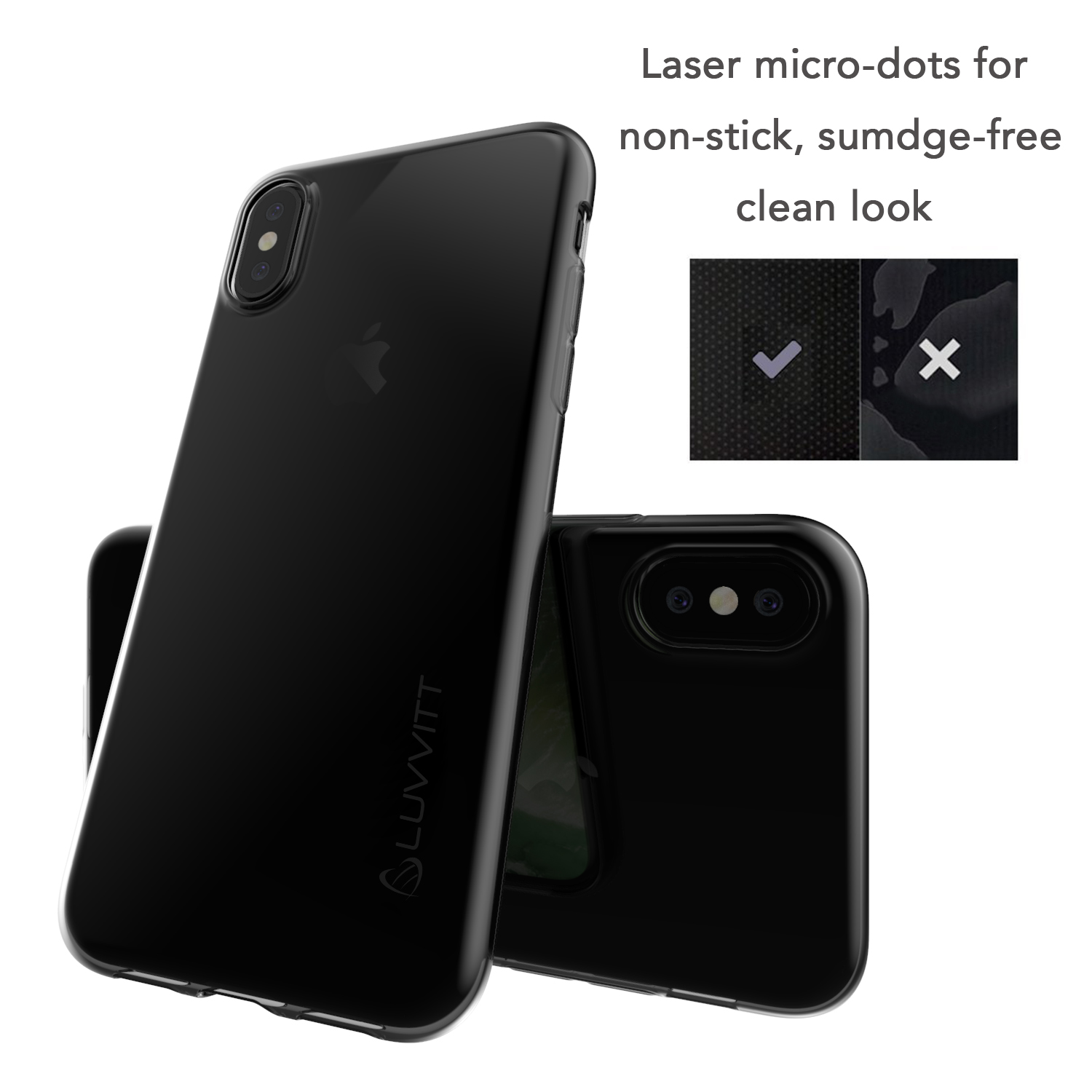 best sneakers ce36d 6ebbd Details about Luvvitt Clarity Case for iPhone X Slim Flexible TPU Rubber  Light Cover