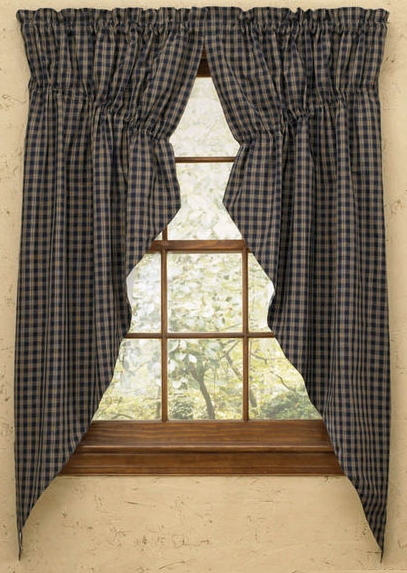 Plaid Gathered Swag Prairie Curtain Set 36 Quot Or 63 Quot Long