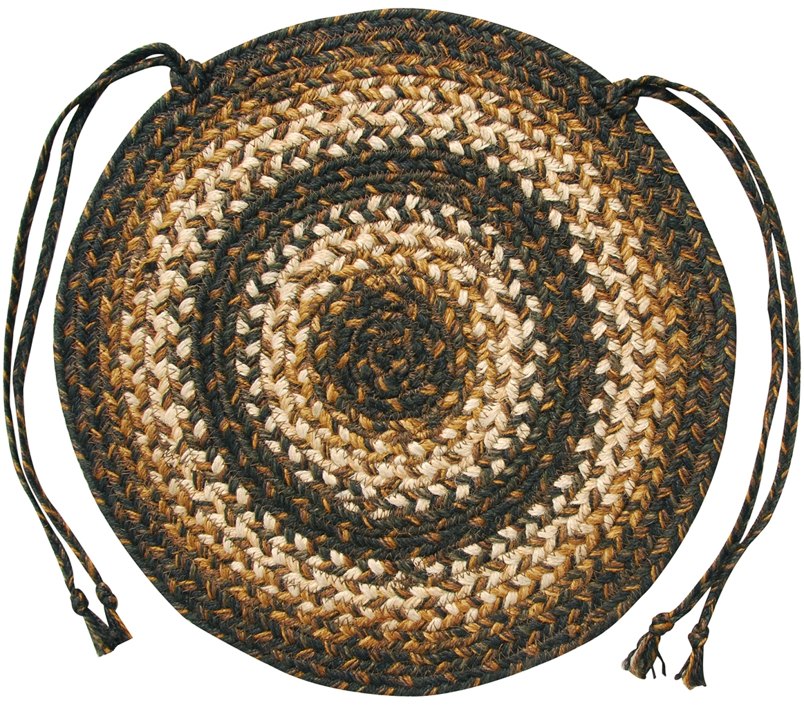 Braided jute chair pads by homespice decor set of 4 15 inch diameter