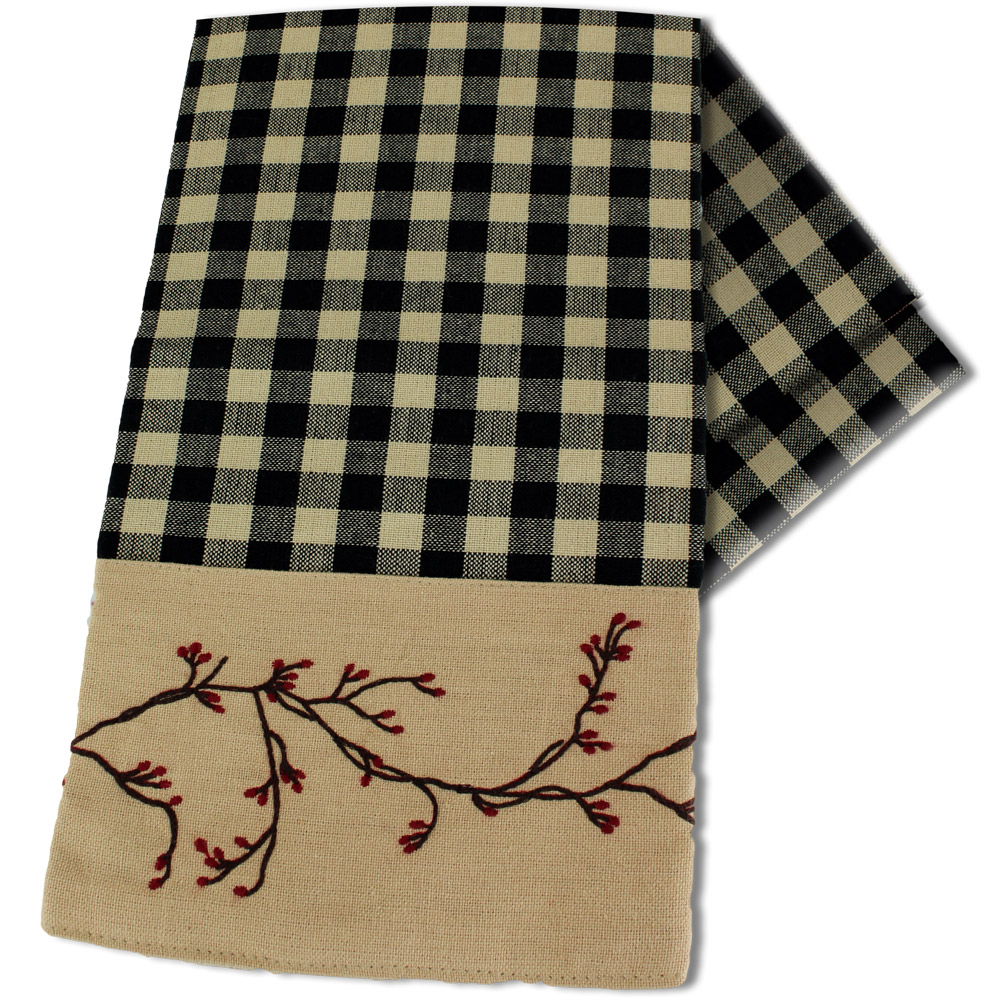 Berry Vine Check Kitchen Towel - Red or Black