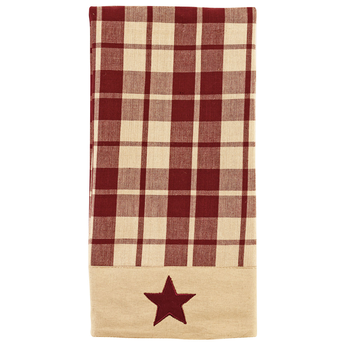 Primitive Farmhouse Star Country Kitchen Towel, Burgundy
