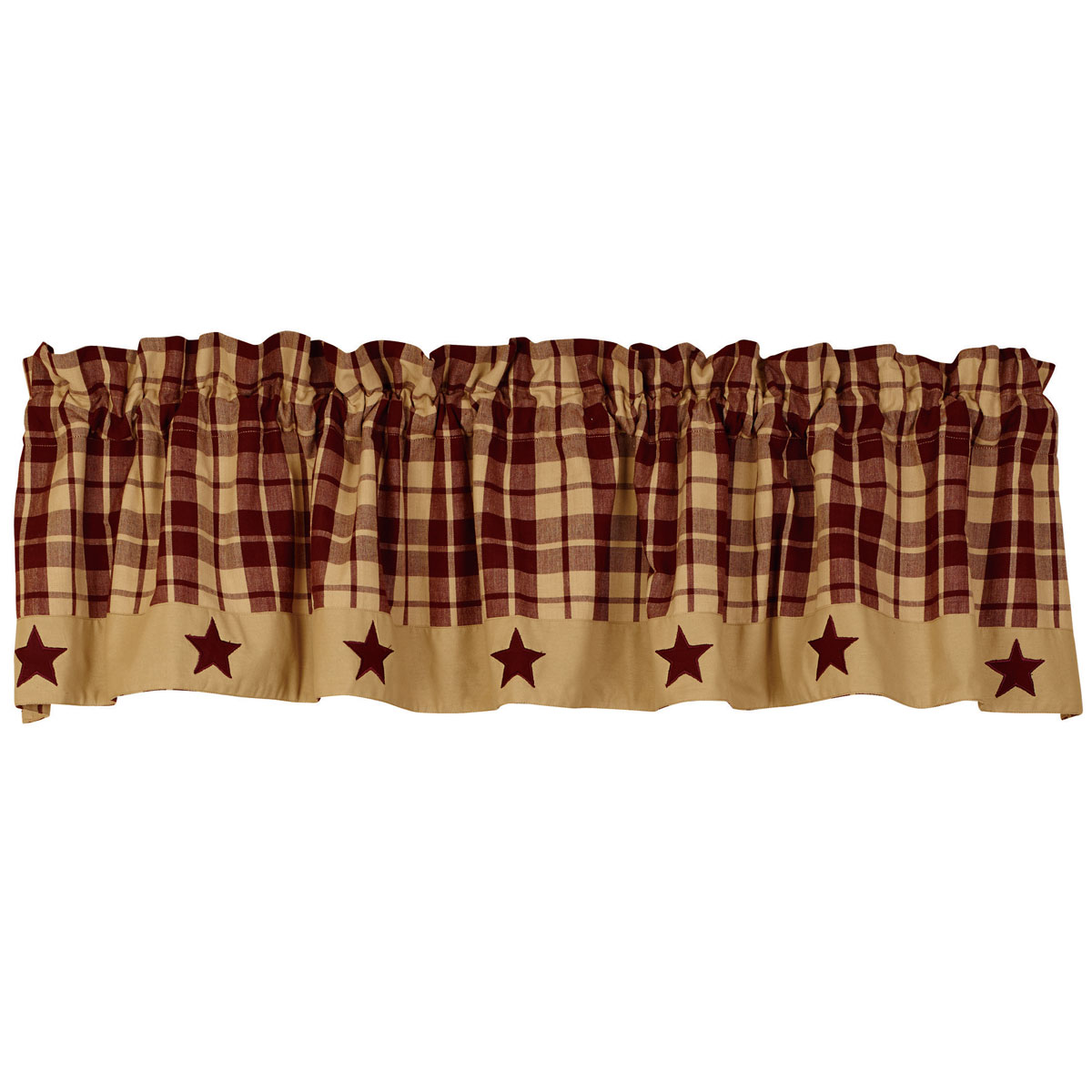 Primitive Farmhouse Star Appliqued Lined Valance, Black