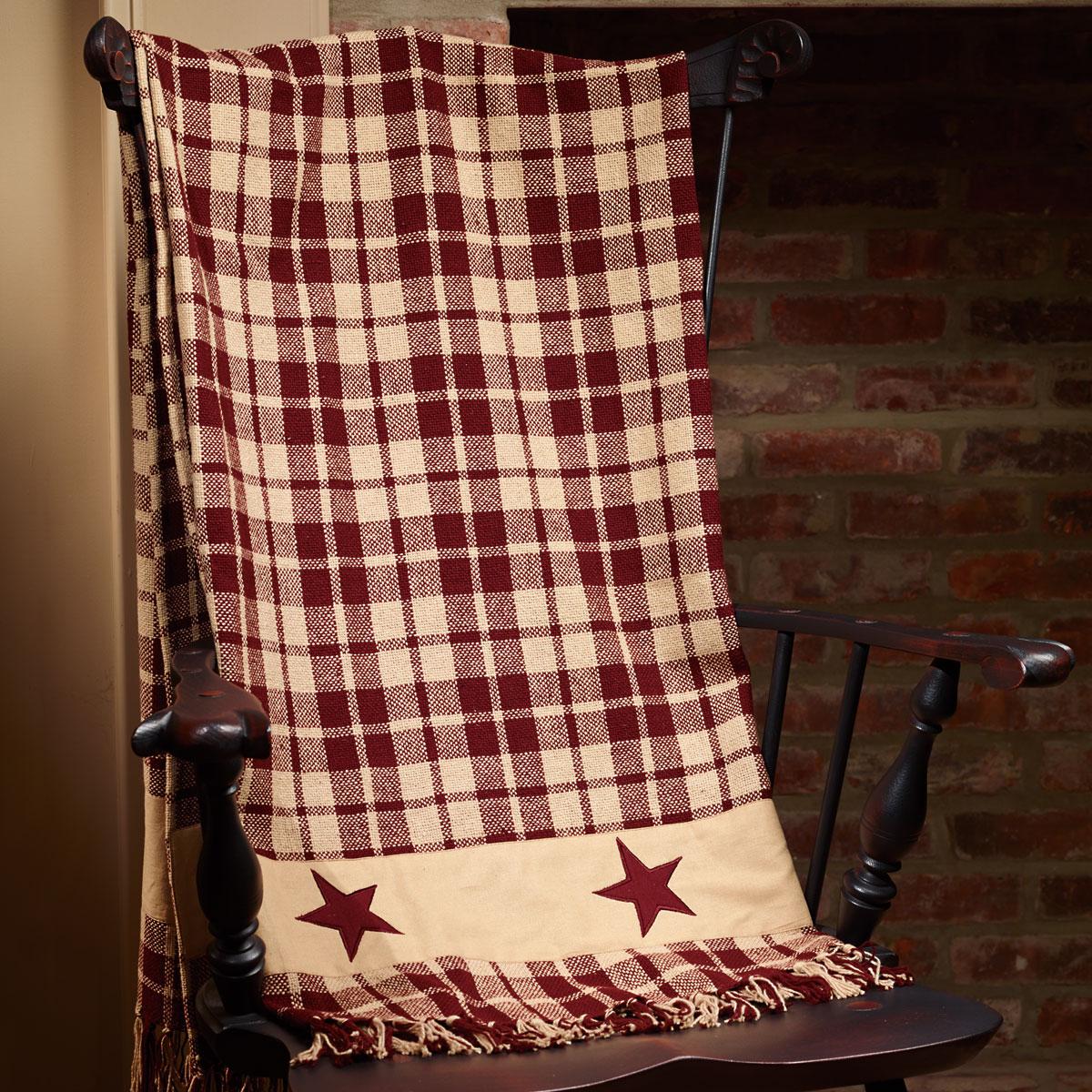 Primitive Farmhouse Star Country Throw Blanket Burgundy