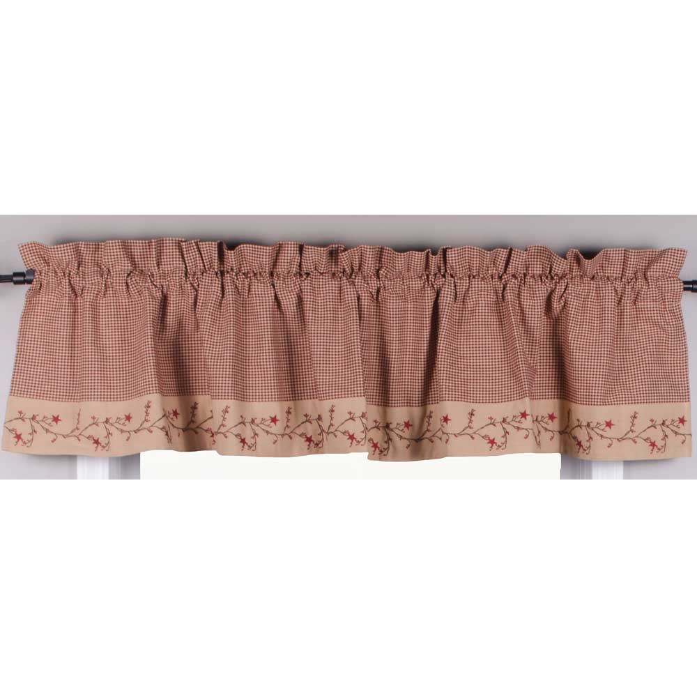 Pink Gingham Valance Part - 18: Star-Berry-Vine-Gingham-Check-Valance-Red-or-