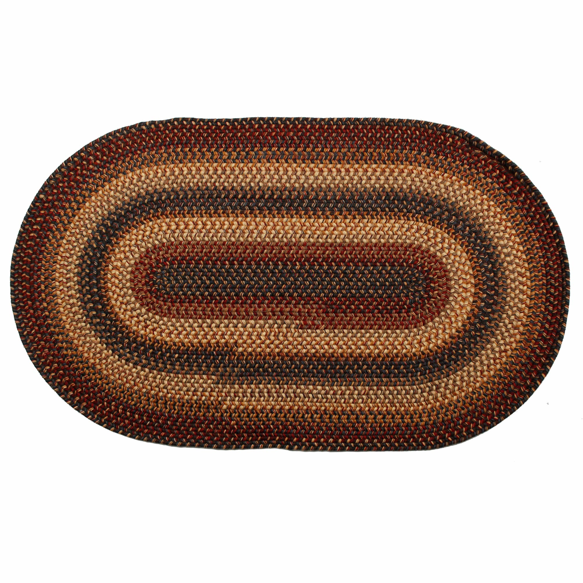 Country Primitive Wool Braided Area Rugs Oval Rectangle