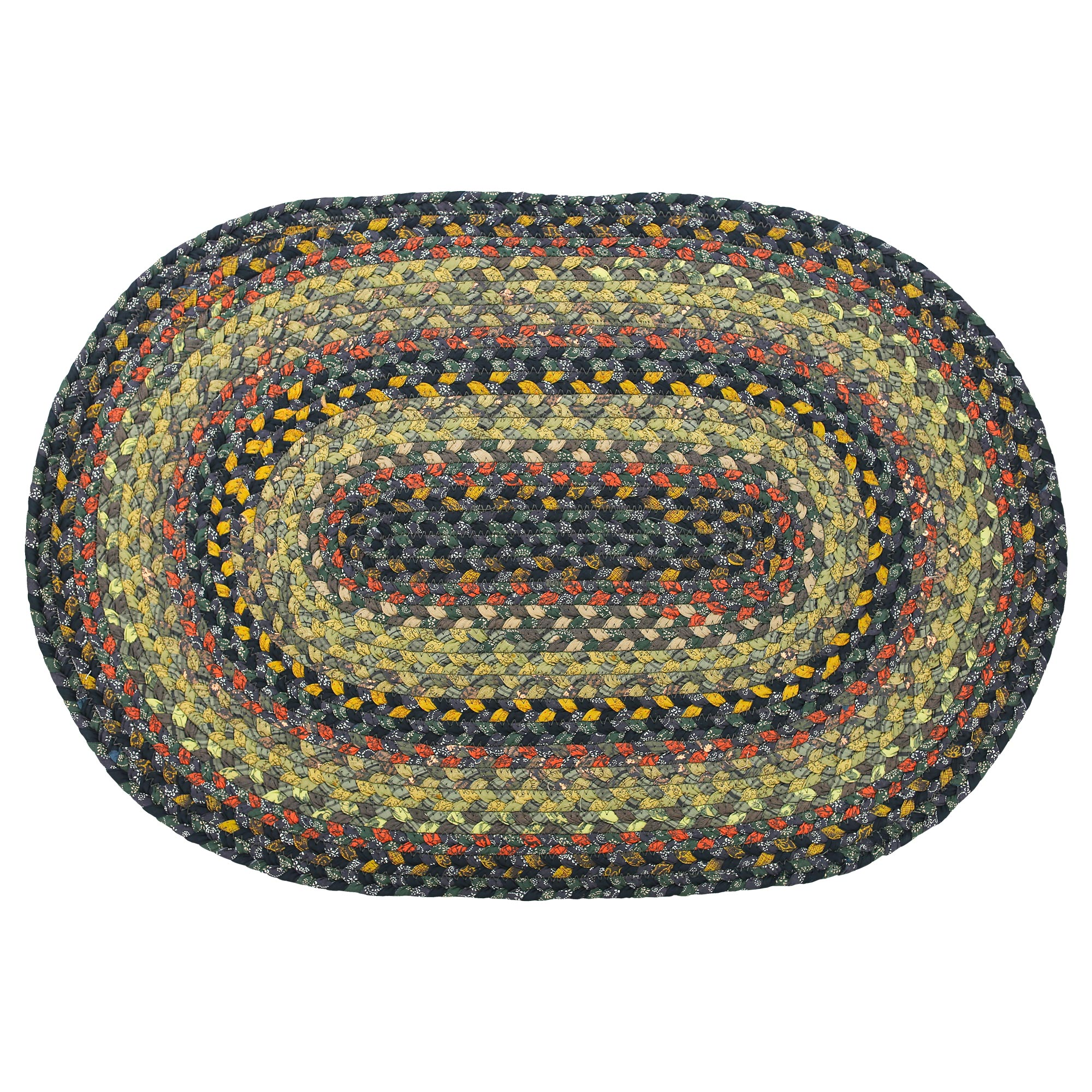 Traditional Country Cotton Braided Area Rugs Oval