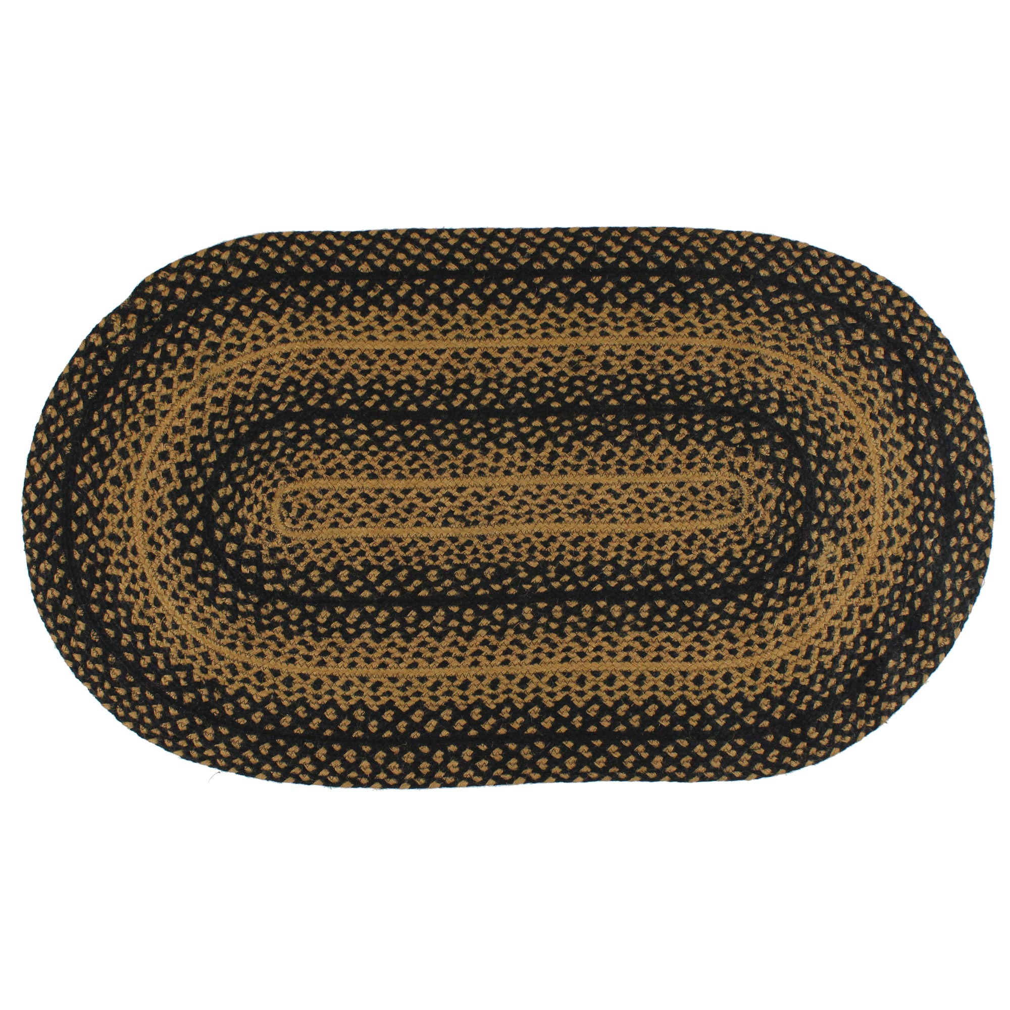 ebony black and tan jute braided area rug ebay. Black Bedroom Furniture Sets. Home Design Ideas