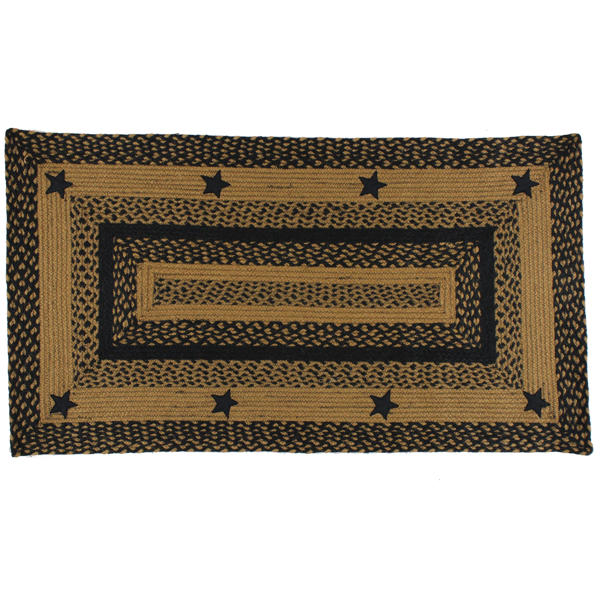 black and tan braided rug with stars primitive country. Black Bedroom Furniture Sets. Home Design Ideas
