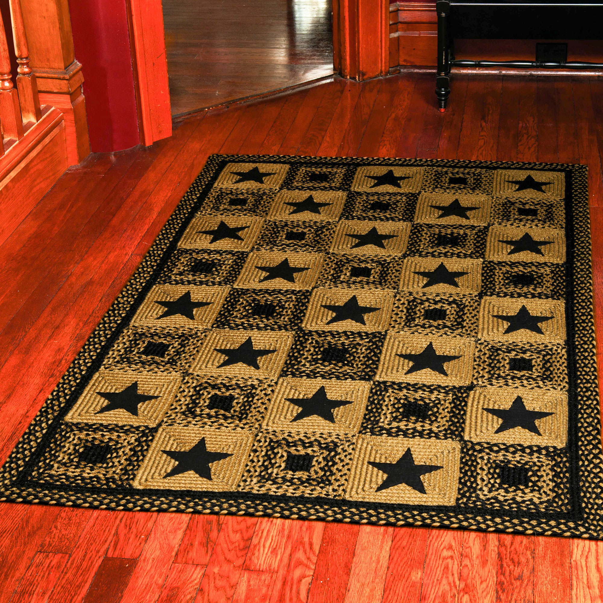 country star rectangle braided rug primitive black and tan. Black Bedroom Furniture Sets. Home Design Ideas