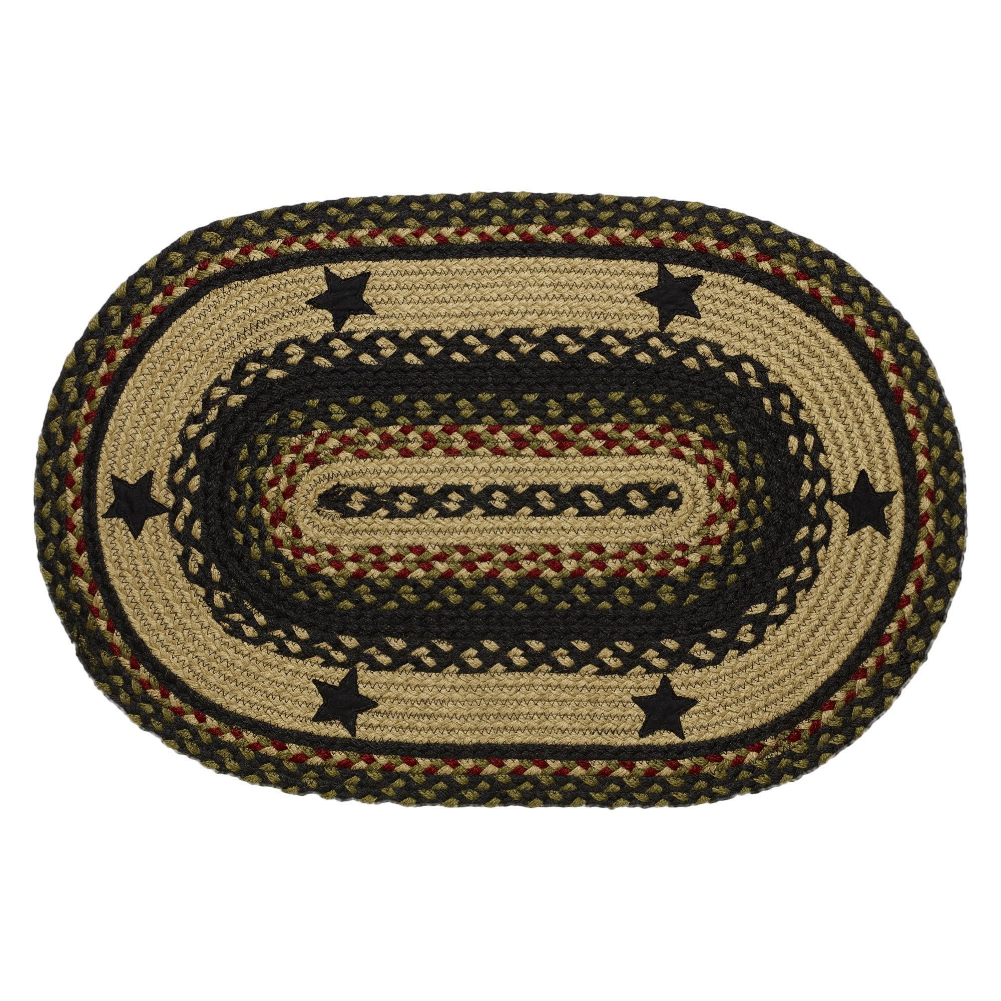 Braided Rugs: Braided Rug Tartan Star Jute Country Primitive IHF