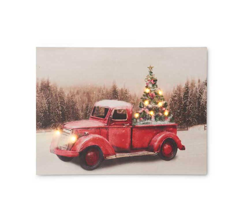 Vintage Red Truck Christmas Decor.Details About Vintage Red Truck Led Canvas Print