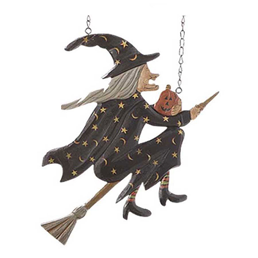 flying witch on broomstick hanging halloween replacement plaque for arrow holder