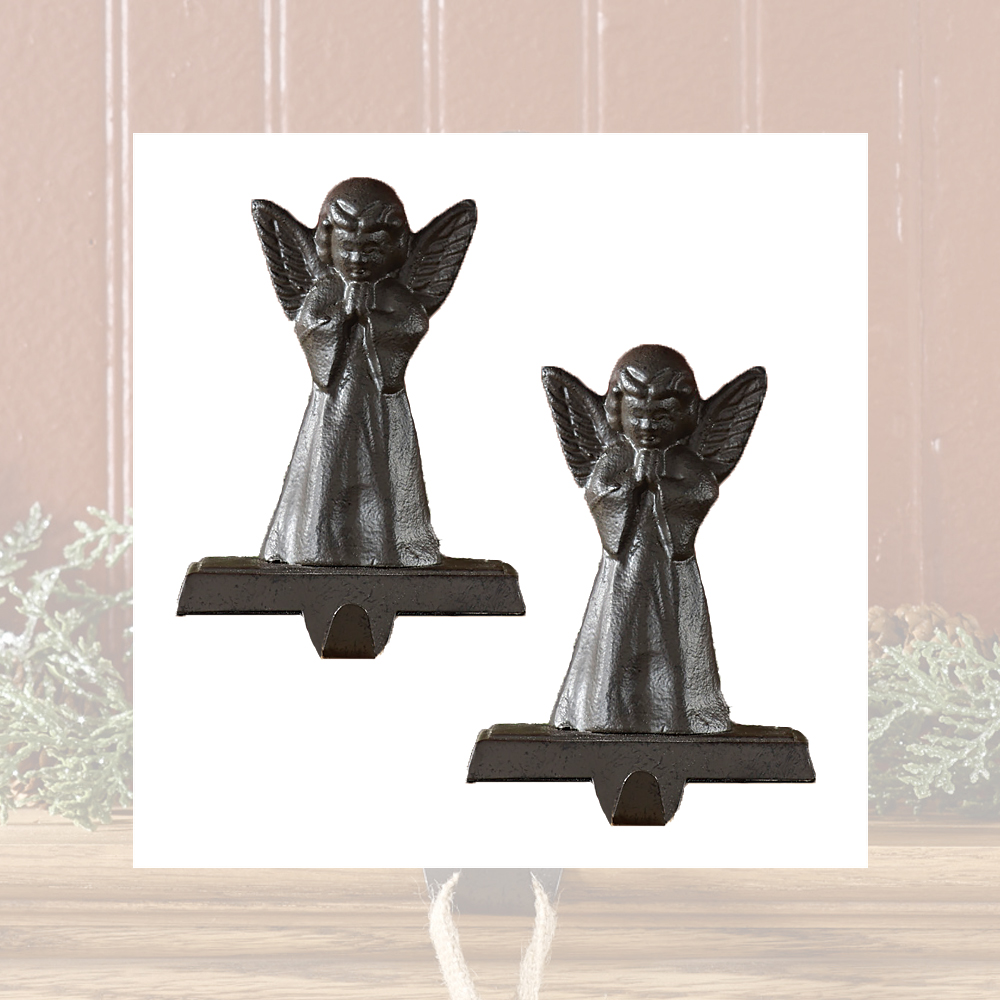 vintage angel christmas stocking holder hanger heavy cast. Black Bedroom Furniture Sets. Home Design Ideas