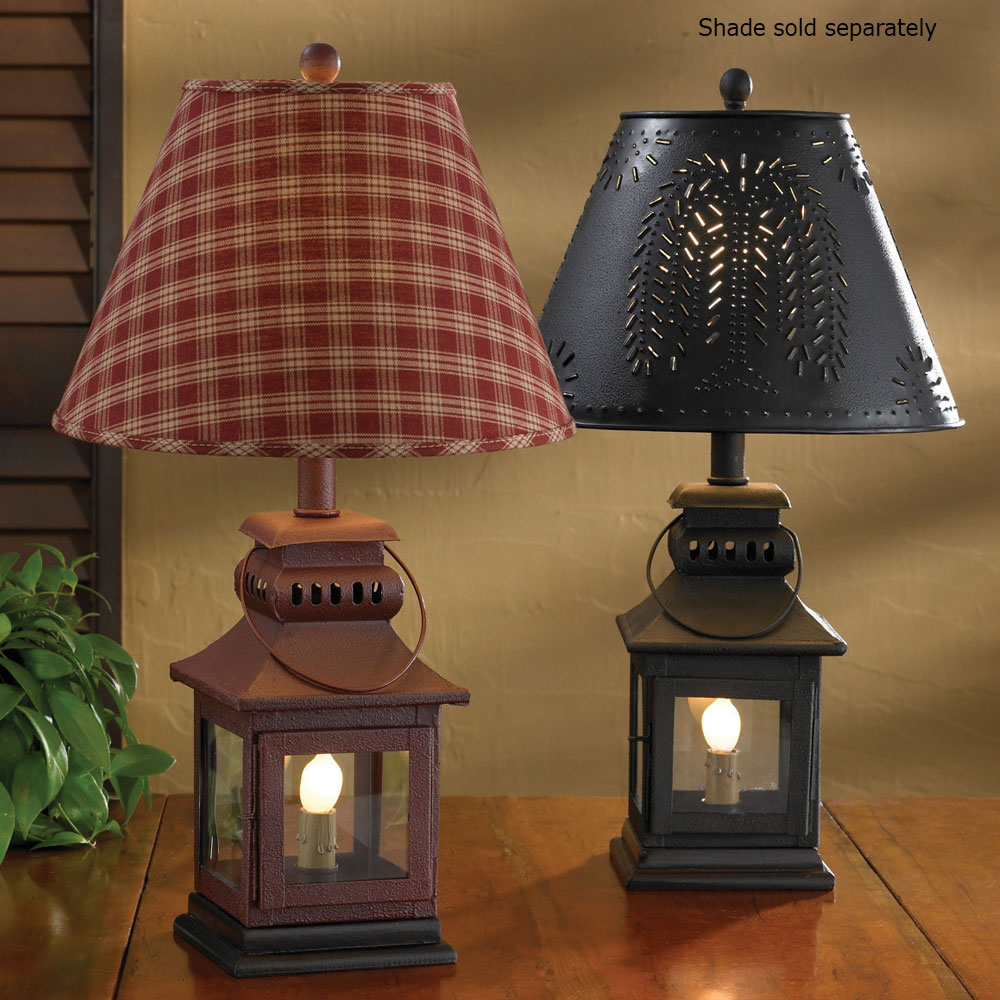 "Country Lantern Lamp In Red Or Black 20"" Tall By Park"