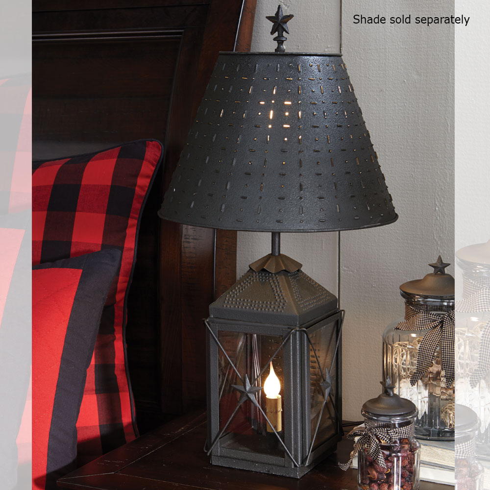 Black Metal Table Lamp Lantern Primitive Country Rustic By