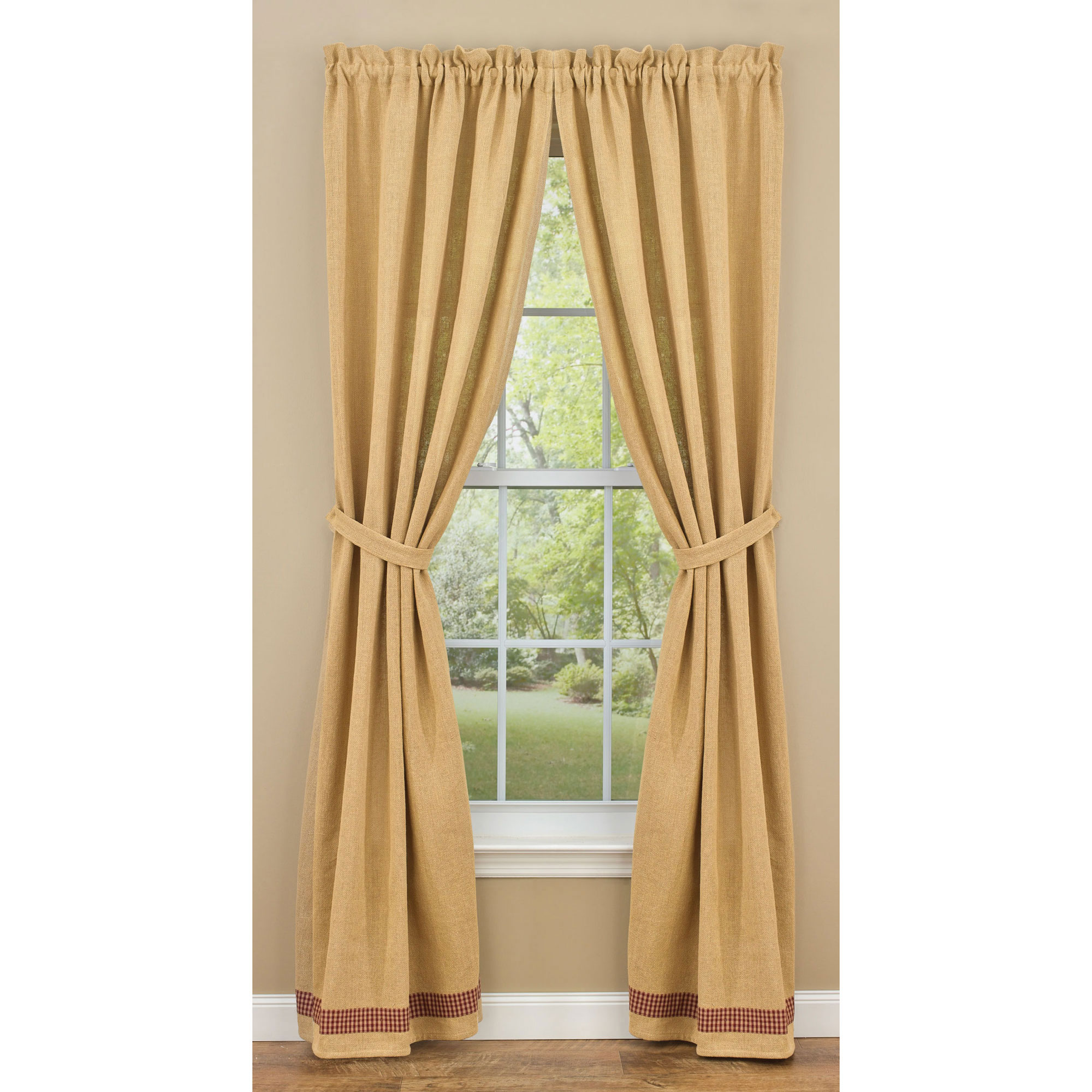Burlap And Check Unlined Curtain Panels By Park Designs 63