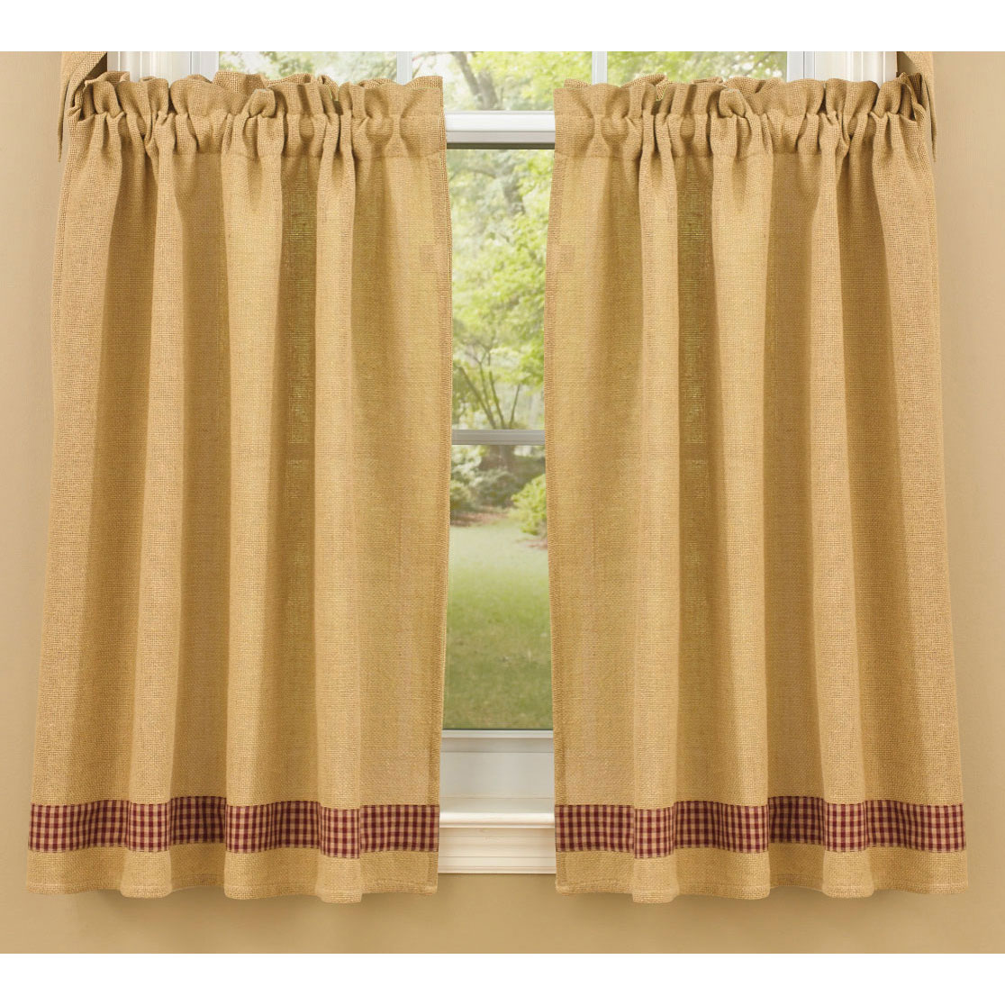 Burlap and check unlined curtain tiers by park designs 24 for Burlap designs