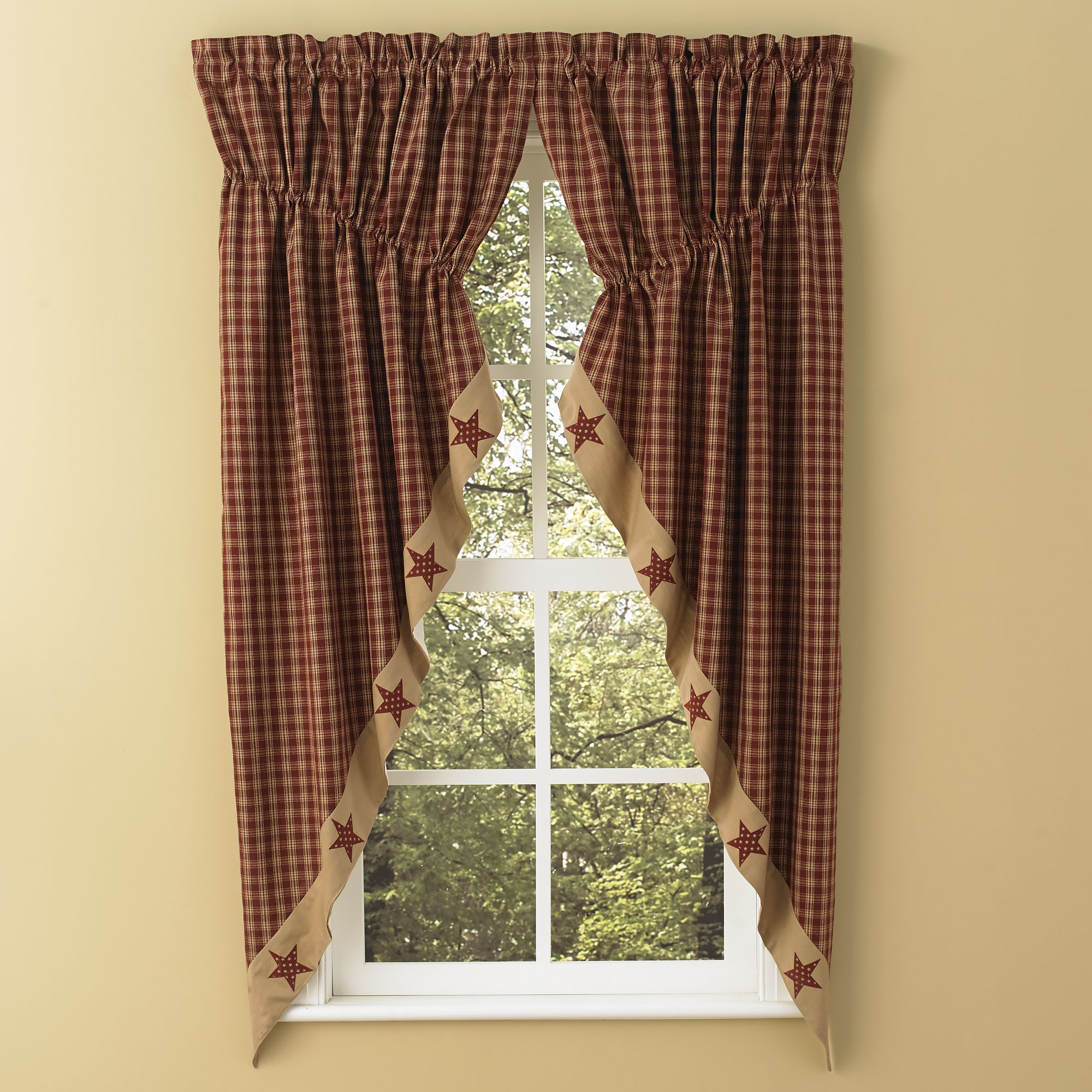 Gathered curtains - Sturbridge Star Patch Gathered Swags Prairie Curtains Park Designs Wine Or Black