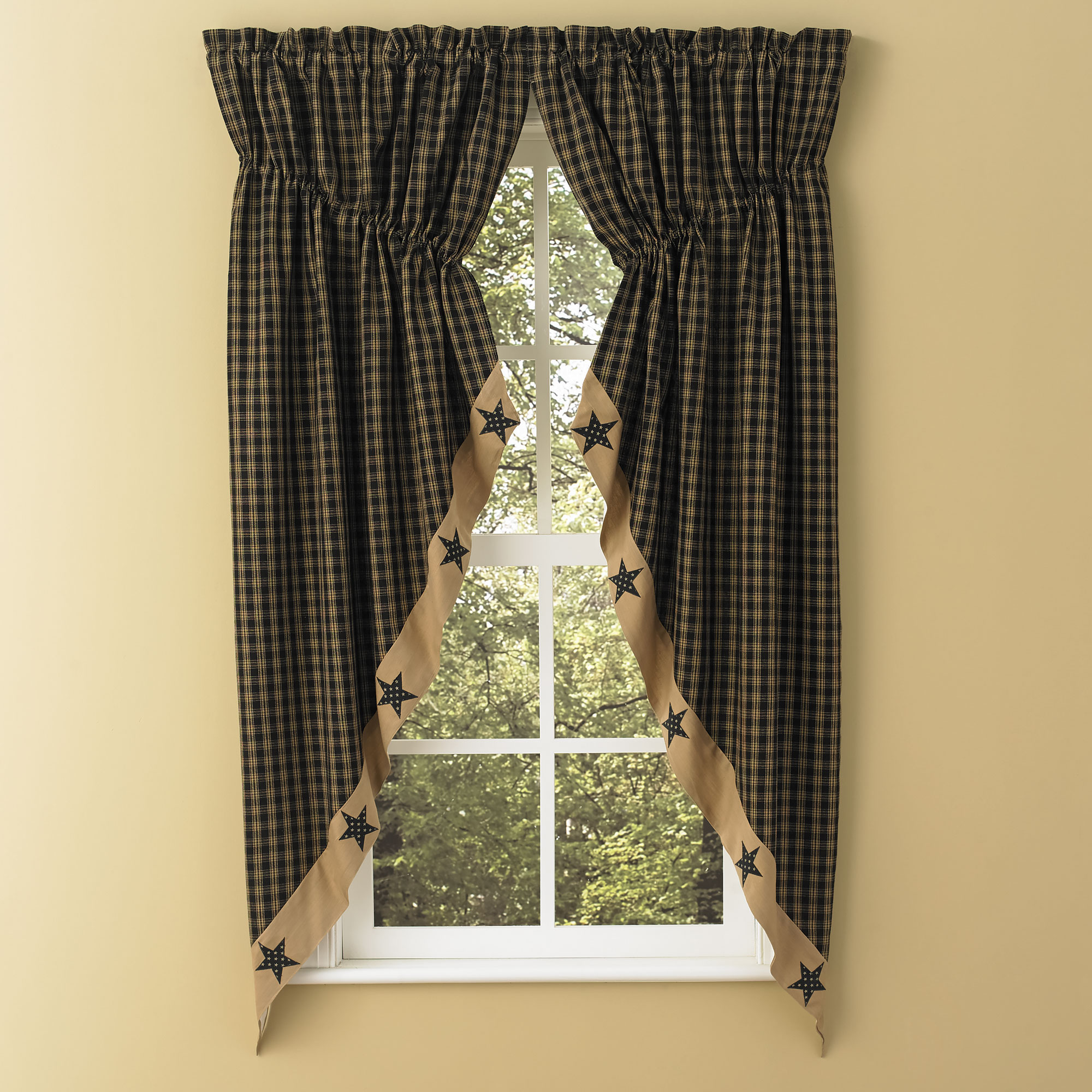 Sturbridge star patch gathered swags prairie curtains park for Star material for curtains