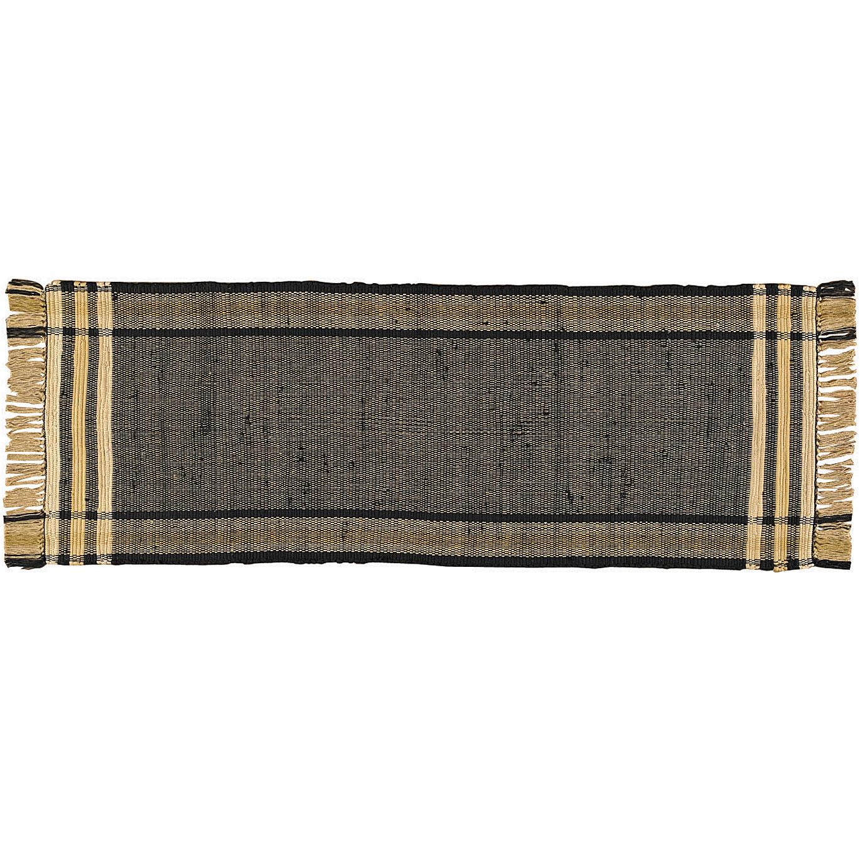 Blackstone Cotton Braided Area Rugs Black Tan