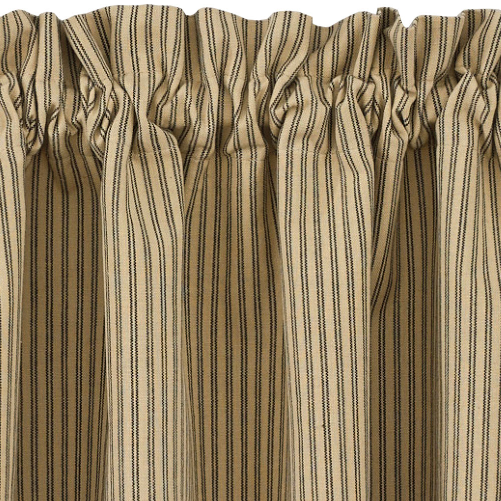 Black and tan ticking stripe curtain tiers primitive star for Star material for curtains