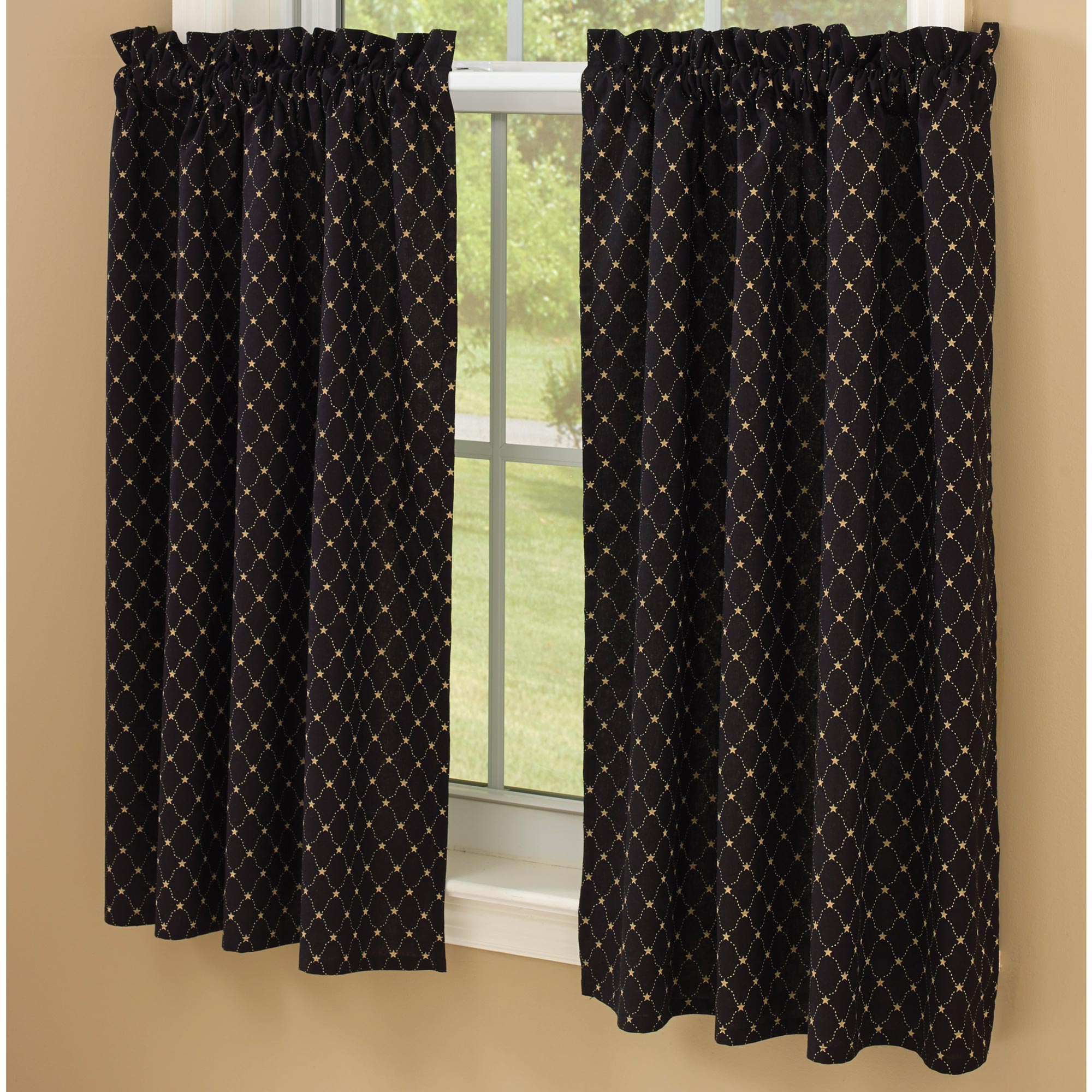 Black With Tan Stars Lined Curtain Tiers By Park Designs