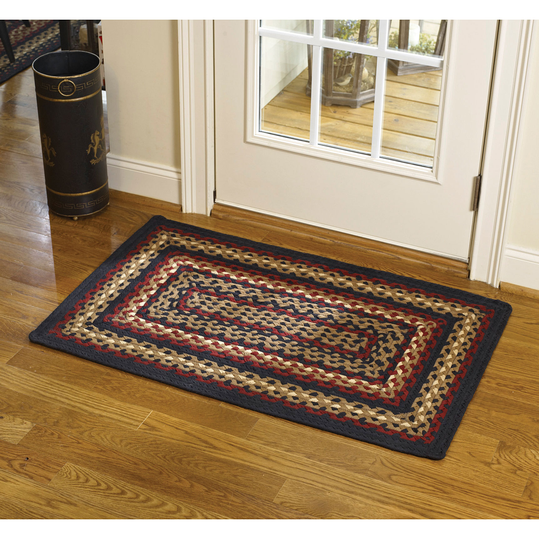 Country Park Designs Black Cotton Braided Area Rug Red