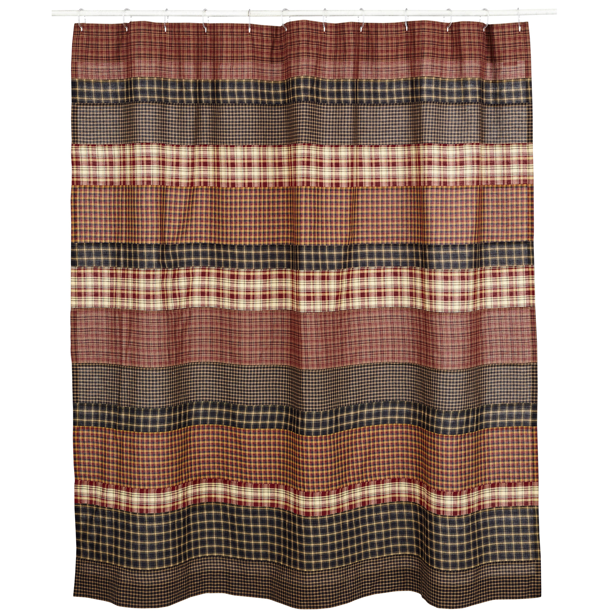 Olive Country Primitive Stratton Shower Curtain Tan Black 72x72 Cotton Red