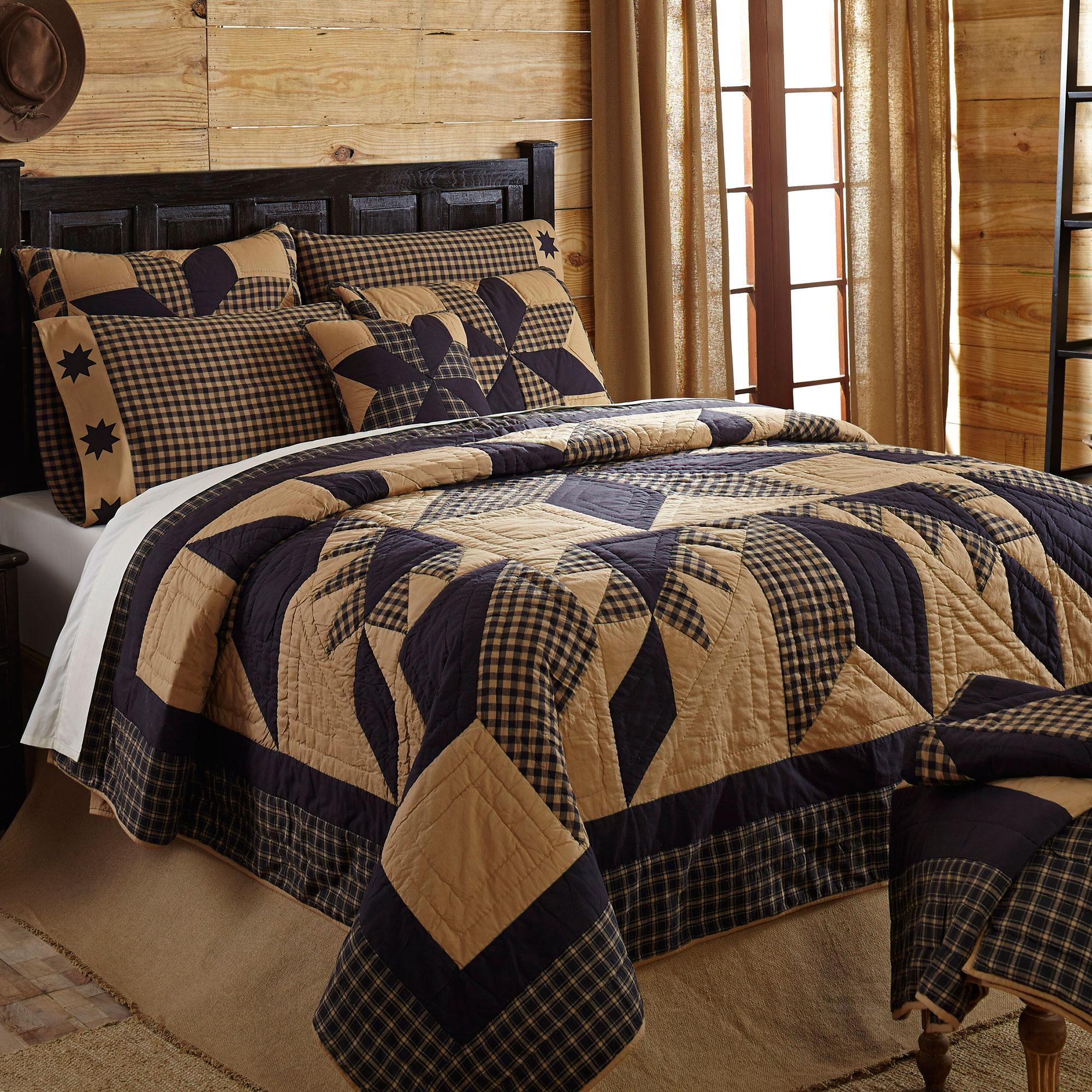 Dakota star tan black rustic primitive luxury king queen twin quilt