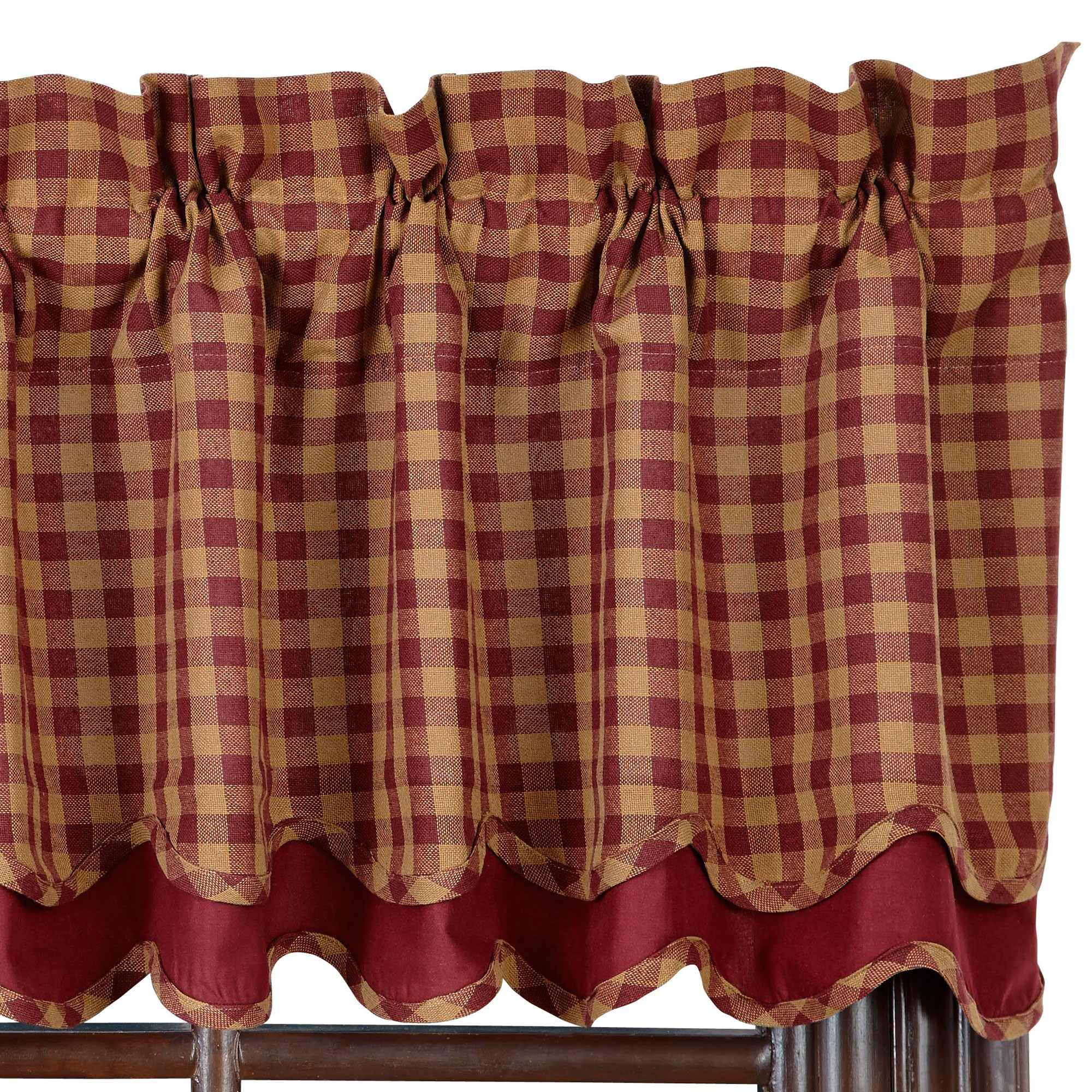Check Scalloped Lined Layered Valance Burgundy And Tan Or