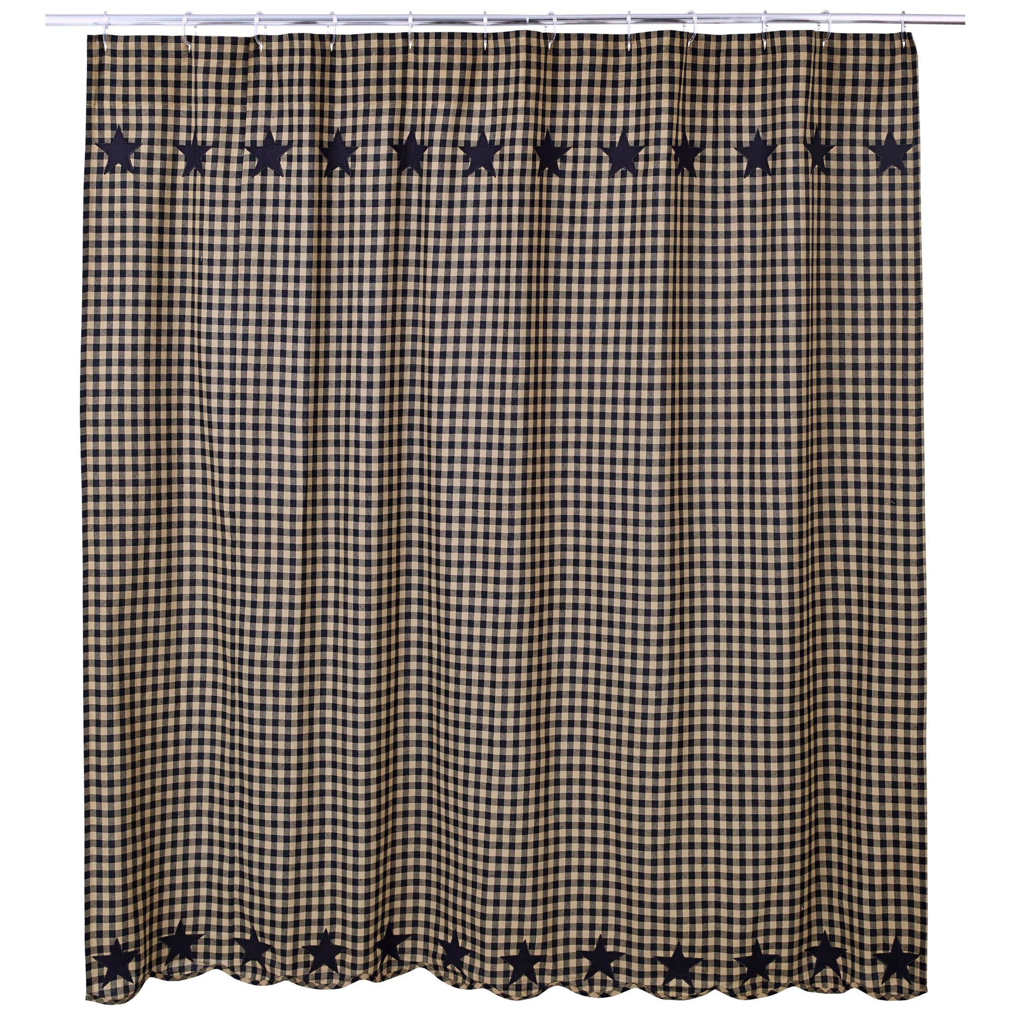 VHC Brands 20146 Black Star Shower Curtain 72x72 | eBay