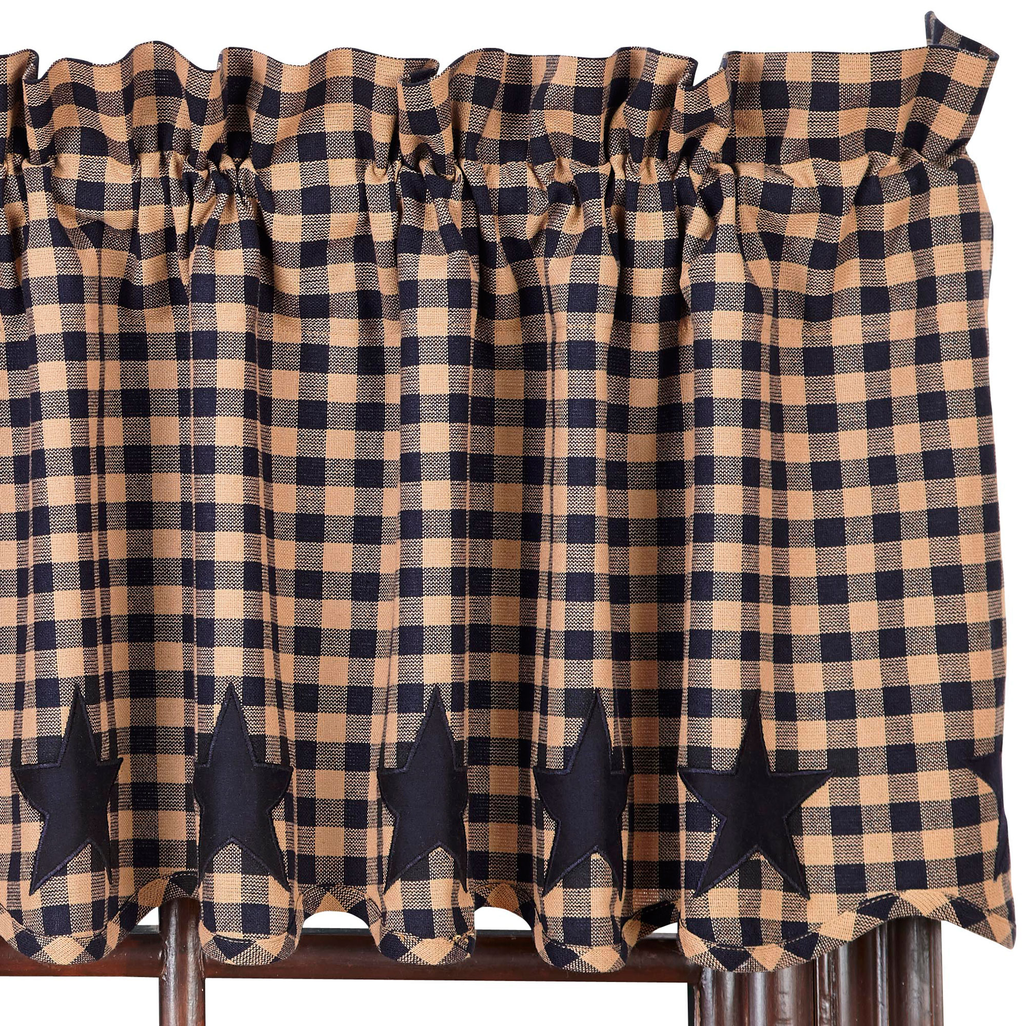 Star And Check Scalloped Country Curtain Valance Navy Black Or Burgundy 39 Ebay