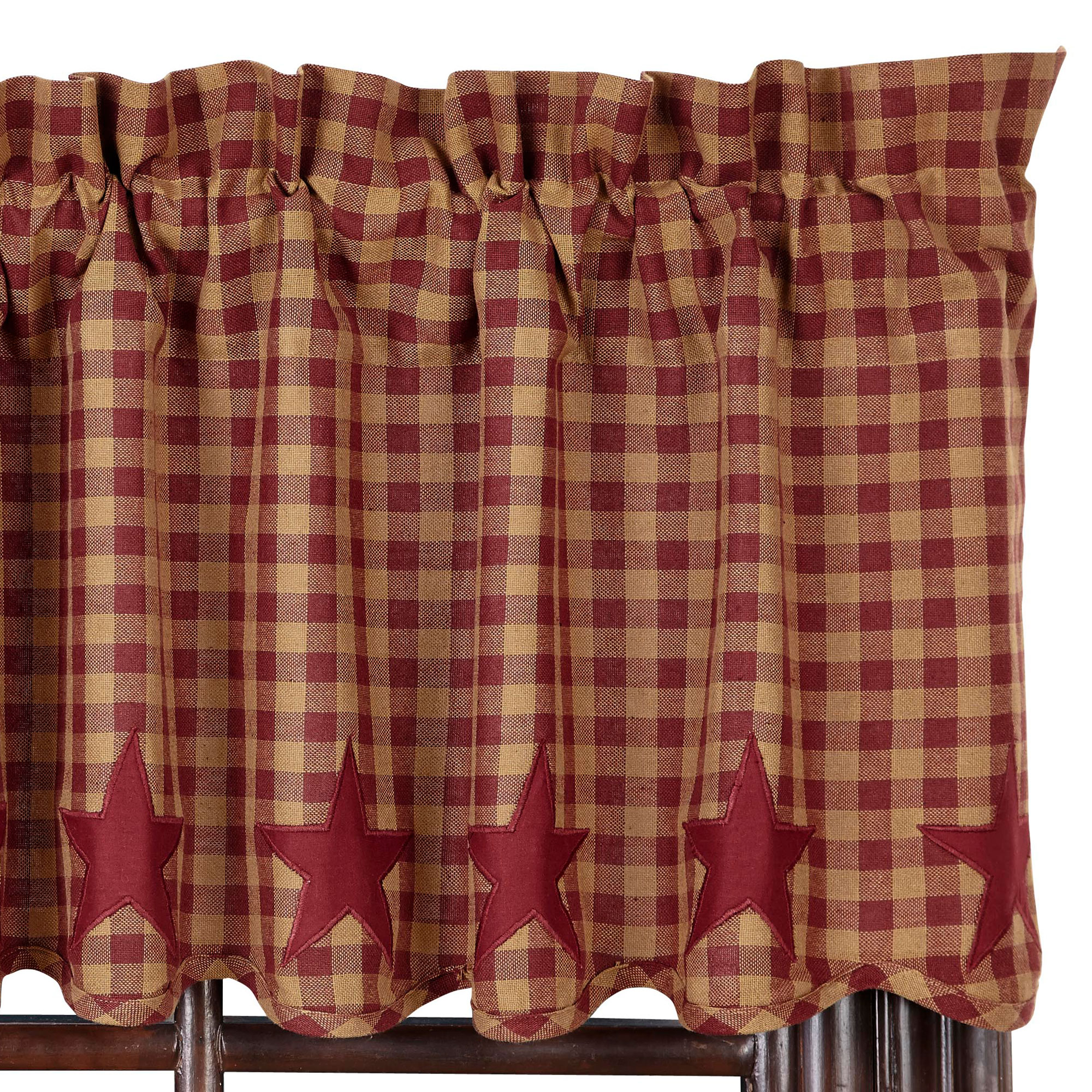 Star And Check Scalloped Country Curtain Valance Navy Black Or Burgundyu0027 Part 94