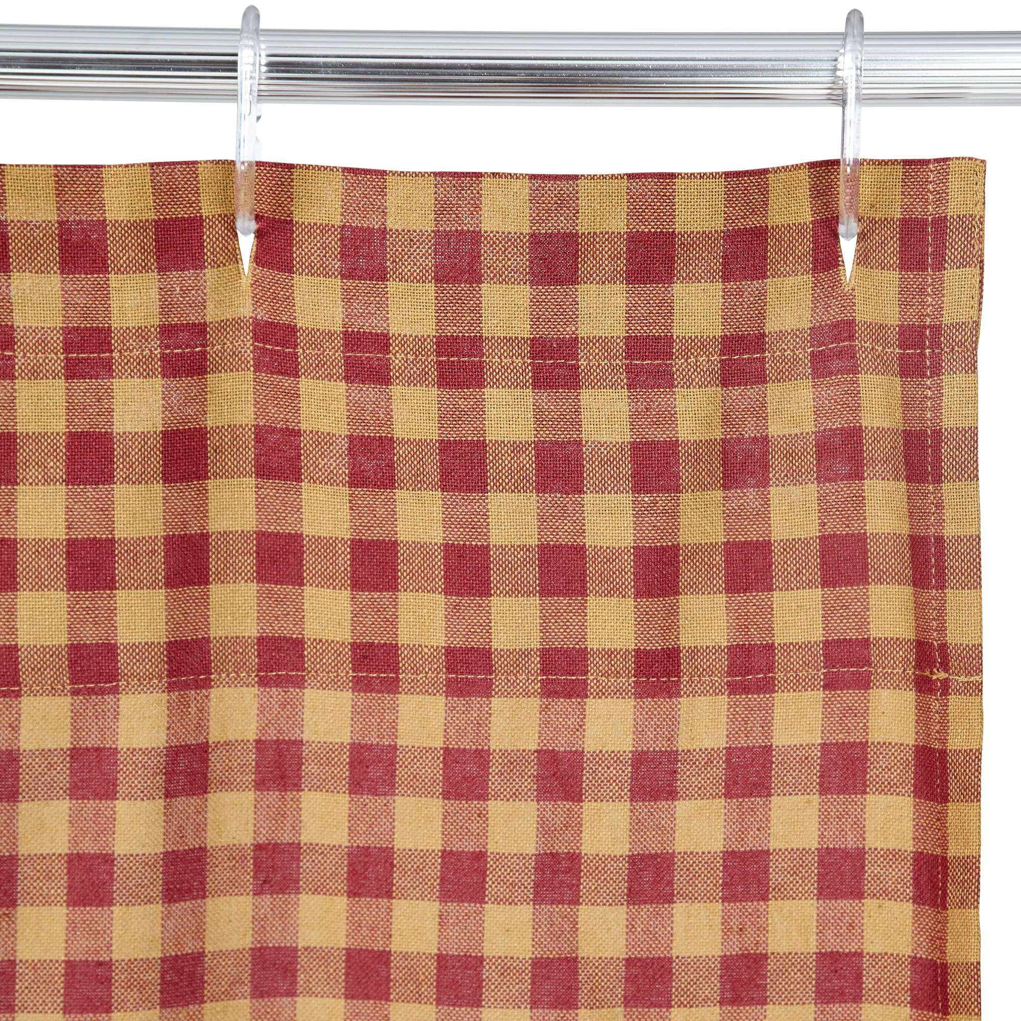 VHC Brands 20225 Burgundy Check Scalloped Shower Curtain 72x72