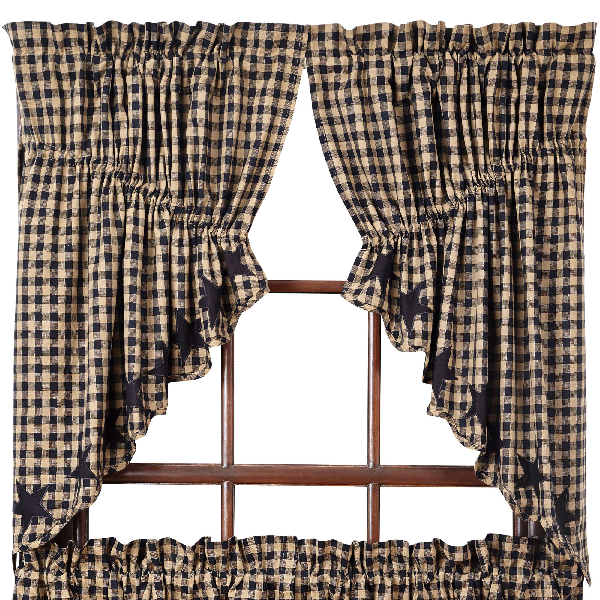 Star And Check Scalloped Prairie Curtains Navy Black
