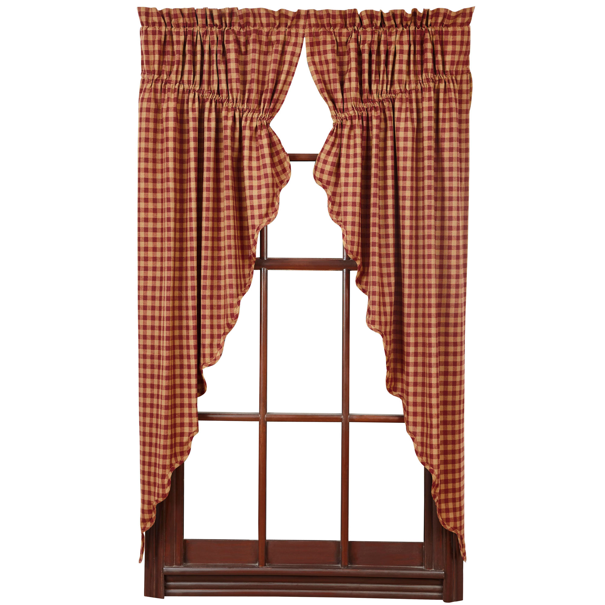 Check Scalloped Prairie Curtains By VHC Brands Navy