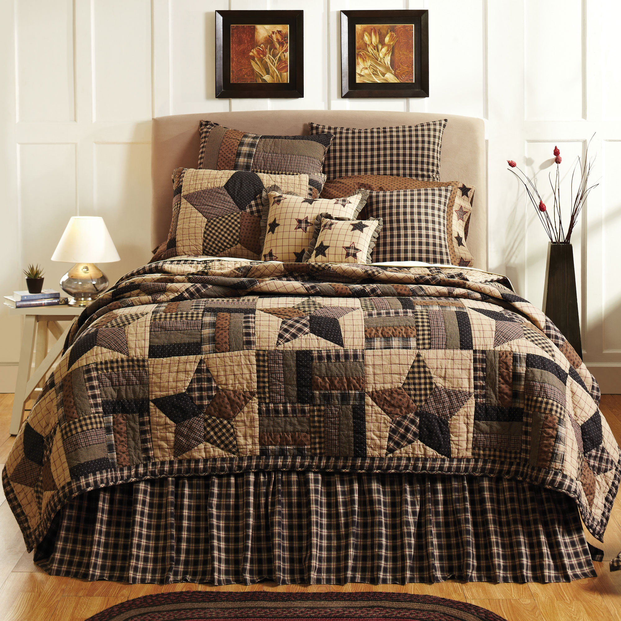 Bingham Star 3 Piece Country Quilt Set | eBay : country quilt set - Adamdwight.com