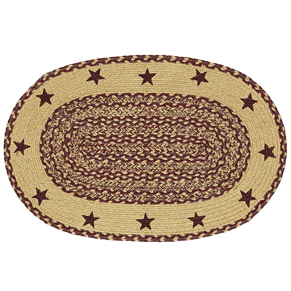 Burgundy And Tan Braided Jute Area Rug Oval Or Rectangle