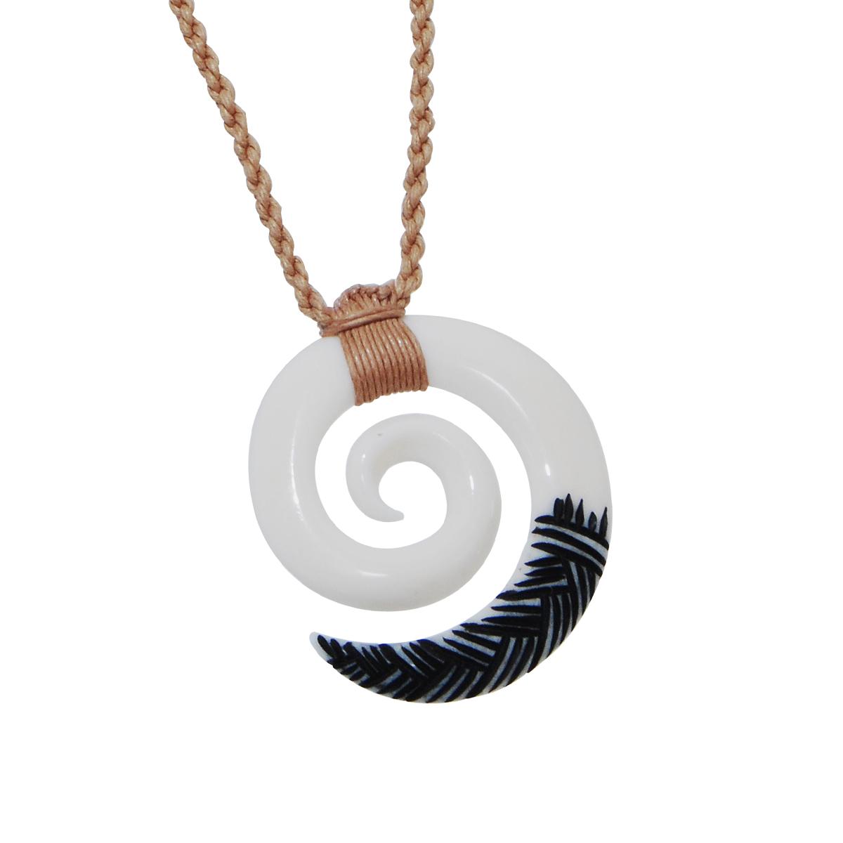 Maori Koru Bone Rope Necklace Ebay