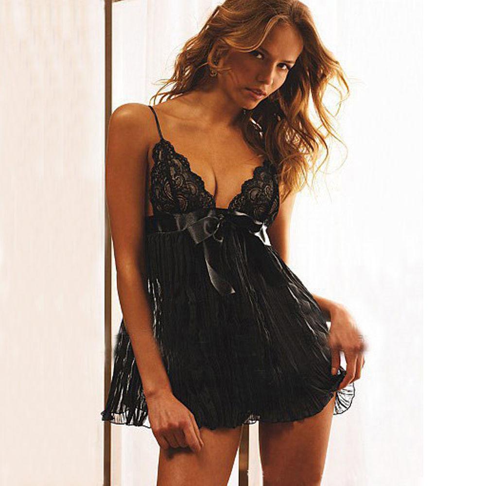 82a320cceb1 Chemise Lingerie Mesh Dress Underwear Babydoll Nightwear+G-string ...