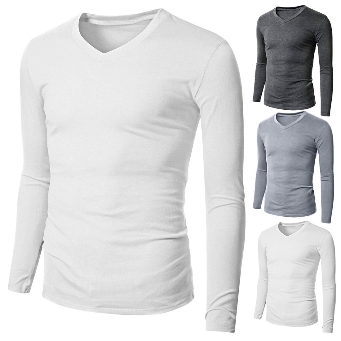 Mens Casual V Neck Long Sleeve Plain T-shirt Slim Fit Cotton ...