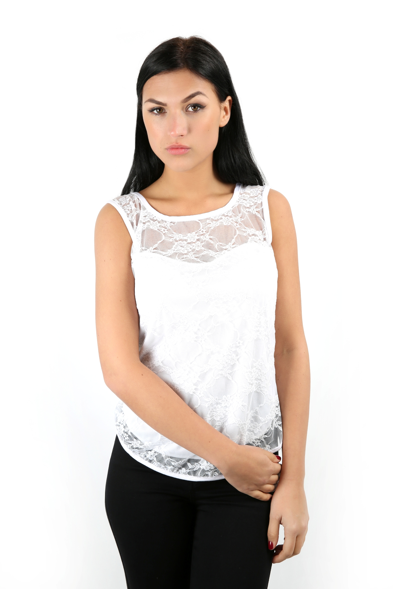 Ladies Stretch Bodycon Sleeveless Lace Top Womens T Shirt