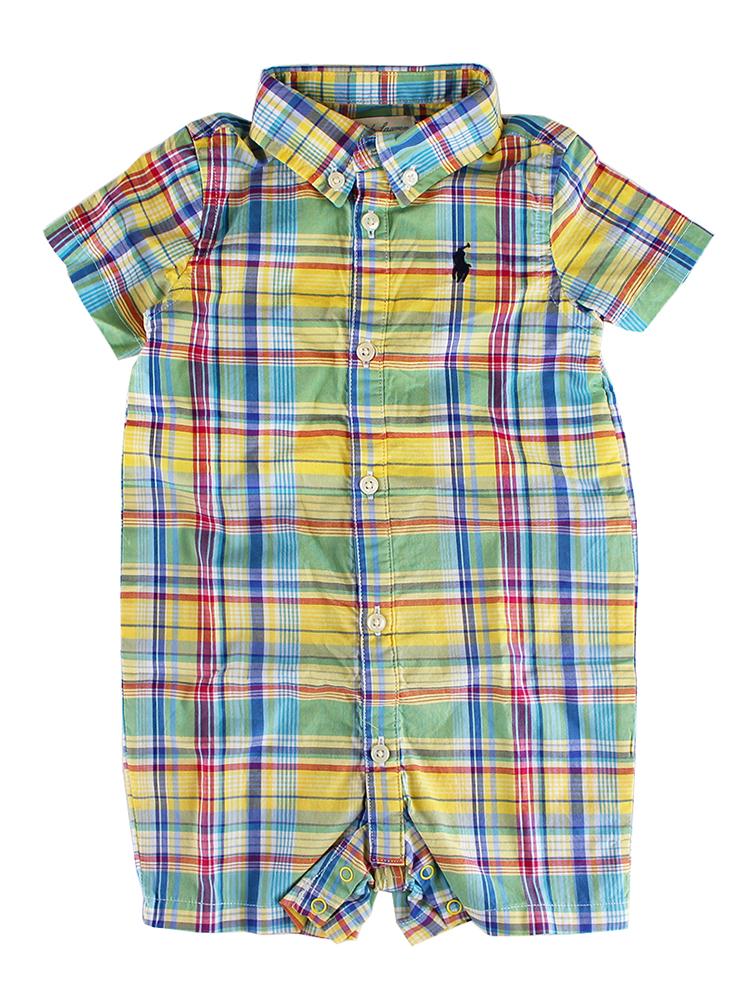 Ralph Lauren Baby Boys Short Sleeve Plaid Shortall