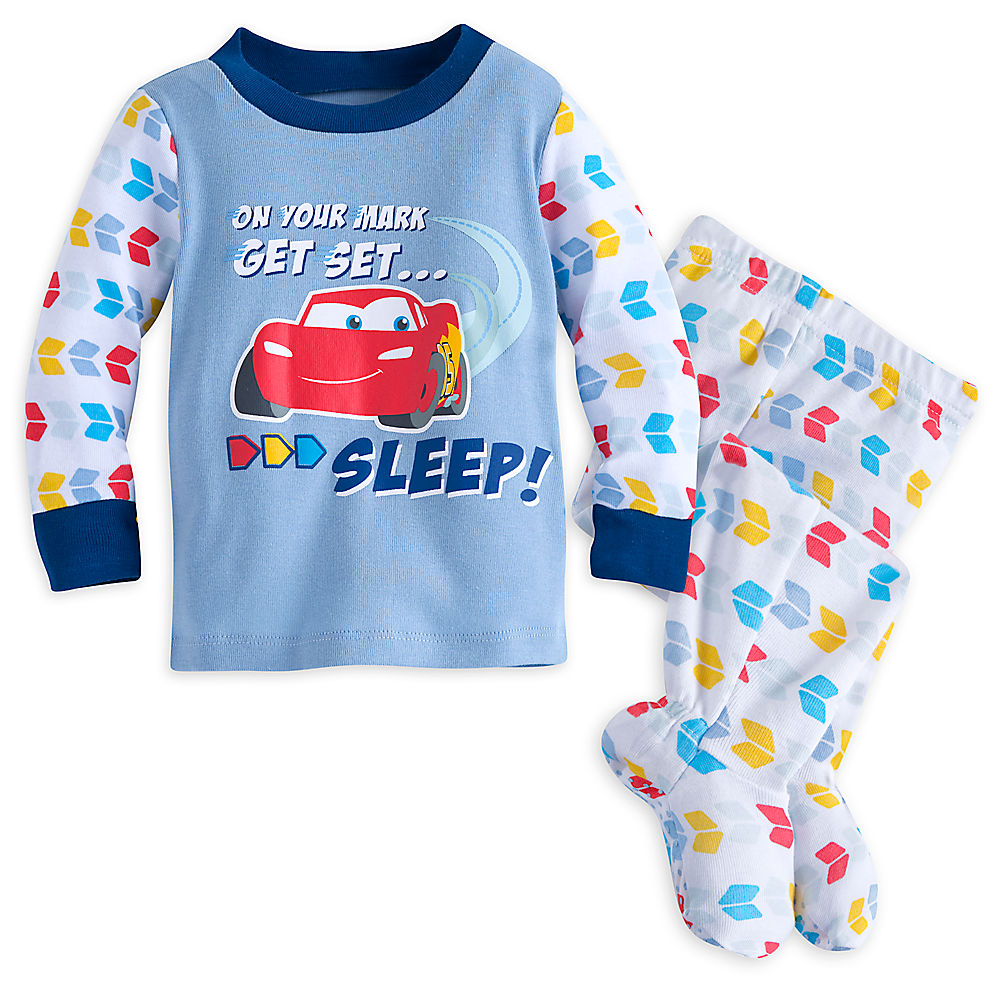 45f8a77cfa14 Disney Store Baby Boys Lightning McQueen -Cars- Footed PJ Pals ...