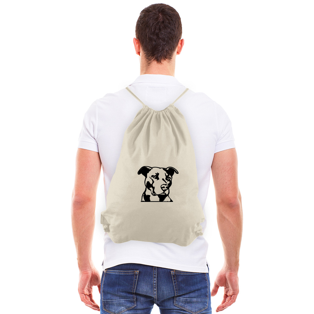 Pitbull Silhouette Eco-Friendly Reusable Cotton Canvas Draw String Gym Bag Sack